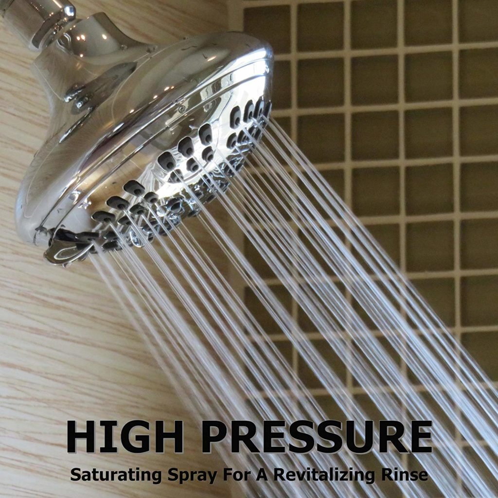 6 Function Adjustable Luxury Shower Head - High Pressure Boosting Wall Mount Bathroom Showerhead For Low Flow Showers