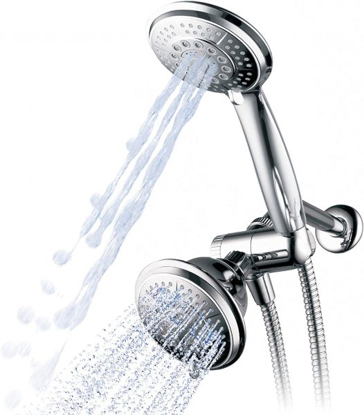 Hydroluxe 1433 Handheld Showerhead & Rain Shower Combo. High Pressure 24 Function 4 Face Dual 2 in 1 Shower Head System with Stainless Steel Hose, Patented 3 way Water Diverter in All Chrome Finish